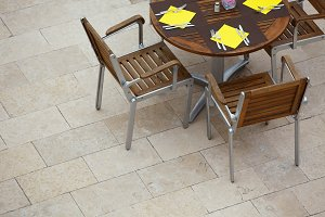 Outdoor summer cafe table