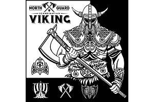 Set of viking emblems, labels and