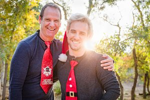 Handsome Festive Father and Son