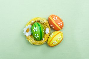 Easter theme. Decorated Easter eggs