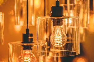 Close up view of lamps