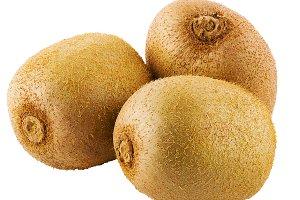 Three whole kiwi fruit isolated on w