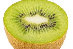 Ripe half kiwi fruit isolated on whi