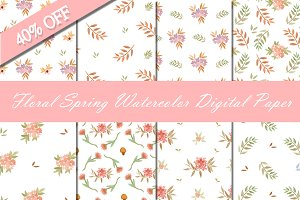 [40%OFF] Floral Spring Digital Paper