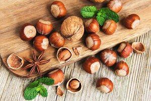 Hazelnuts on a old wooden table