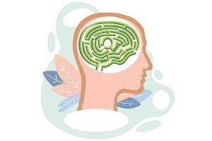 Human brain labyrinth vector
