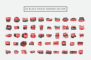 50 Set Vector Black Friday Banner