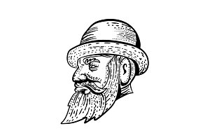 Hipster Wearing Bowler Hat Etching B
