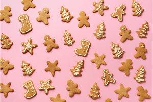 Christmas handmade cookies on pink