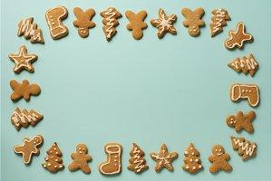 Frame of Christmas gingerbread