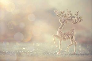 Silver glitter Christmas deer on