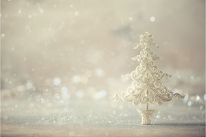 Silver glitter Christmas tree on