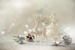 Silver glitter Christmas tree, deer