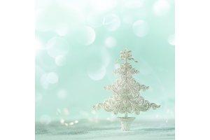 Silver glitter Christmas tree on