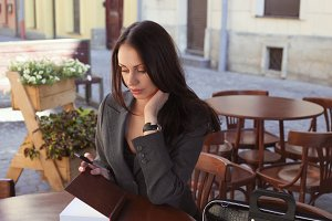 Business Woman In Cafe