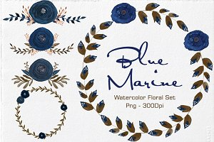 Blue Marine - Watercolor Floral Set