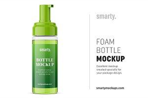 Foam bottle mockup / transparent