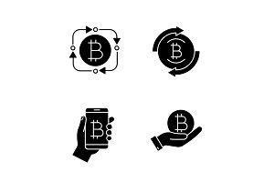 Bitcoin cryptocurrency glyph icons