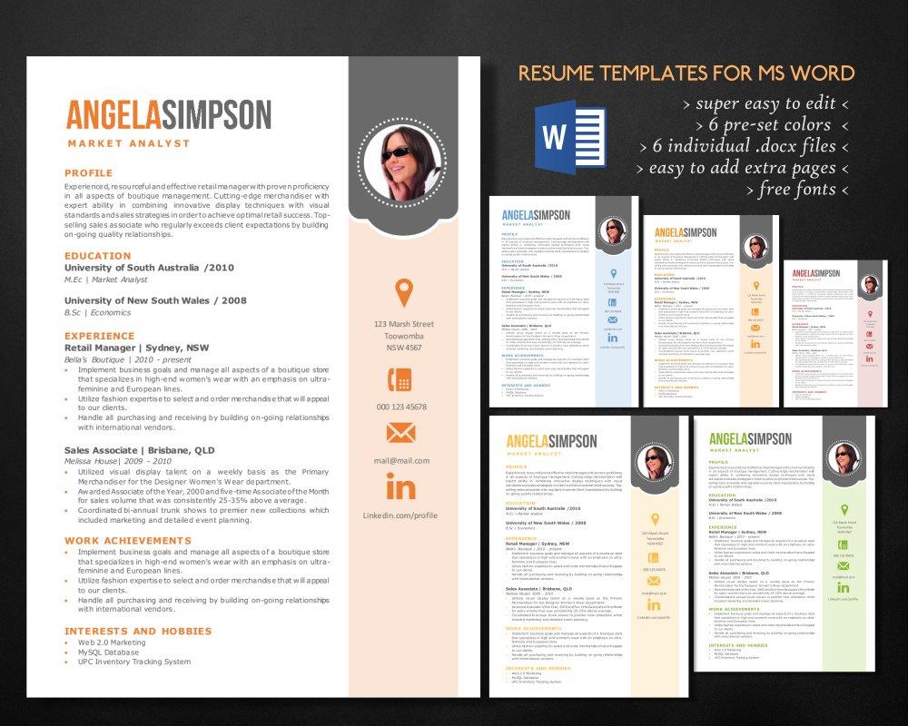 stylish word photo resume templates resume templates creative market