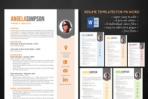 Stylish Word photo resume templates
