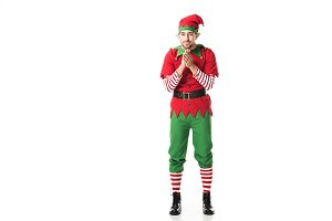 excited man in christmas elf costume