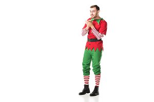 excited smiling man in christmas elf