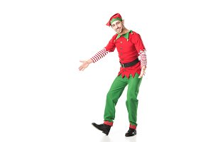 happy man in christmas elf costume w