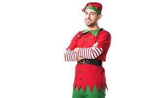 man in christmas elf costume with ar