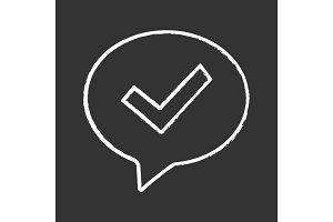 Approved chat chalk icon