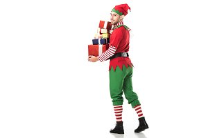 happy man in christmas elf costume l