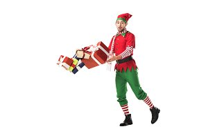 surprised man in christmas elf costu