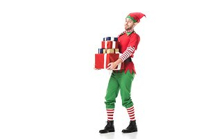 man in christmas elf costume looking