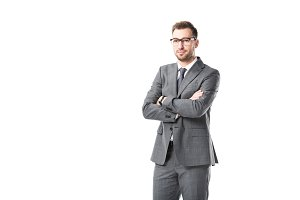 adult businessman in glasses with ar