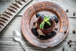 Coffee panna cotta with chocolate