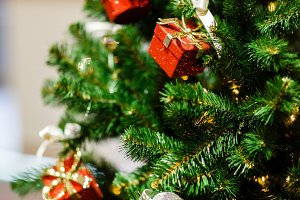 Photo of decorated Christmas spruce