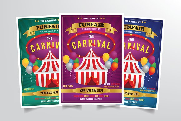 carnival flyer template flyer templates creative market