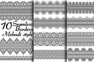 10 wide seamless Mehndi borders