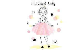 Cute princess Girl in pink skirt