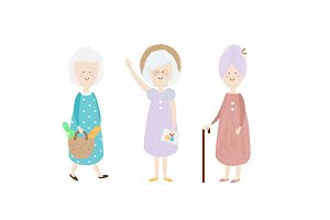 Elderly women. Happy old lady