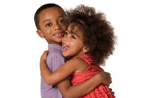 Two cheerful siblings kids