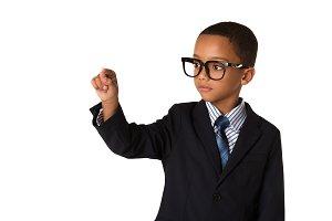 Elegant little boy with glasses