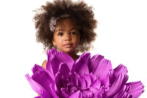 Portrait of a cute girl with flower