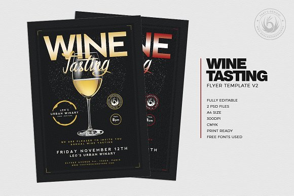 Wine Tasting Flyer Template V2 Flyer Templates Creative Market