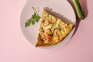 Vegetable quiche with prawns