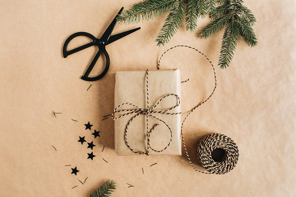 Stock Photos: Floral Deco - Gift box packaging