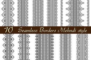 10 wide seamless Mehndi borders