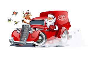Cartoon retro Christmas van isolated