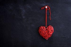 small wicker red heart