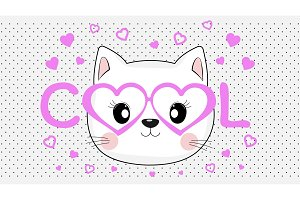 Face of a cool cat in pink glasses.