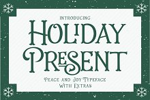 Intro 25% Off- Holiday Present Fonts by  in Display Fonts